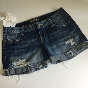 Decree Distressed denim shorts